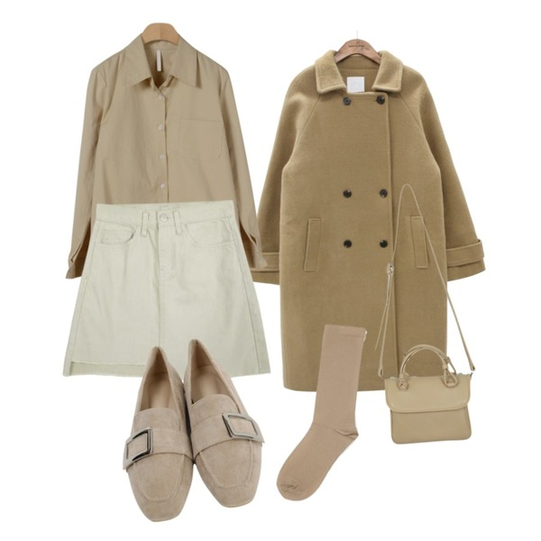 AWAB 크루미언발스커트,common unique [OUTER] LETO COLLAR WOOL DOUBLE COAT,OBBANG STYLE 먼데이 베이직 셔츠등을 매치한 코디