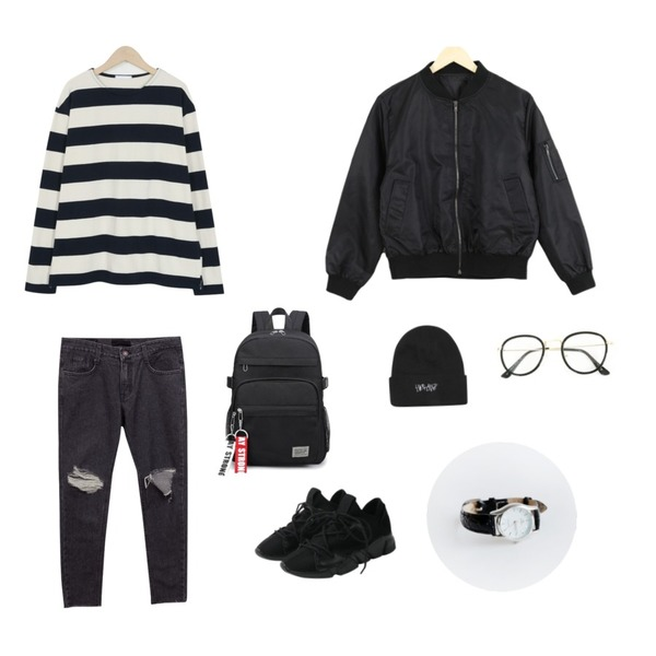 common unique [BOTTOM] CUTTING BOY PANTS,about moon mini short blouson (3 color),From Beginning Block patch stripe T_M (size : free)등을 매치한 코디
