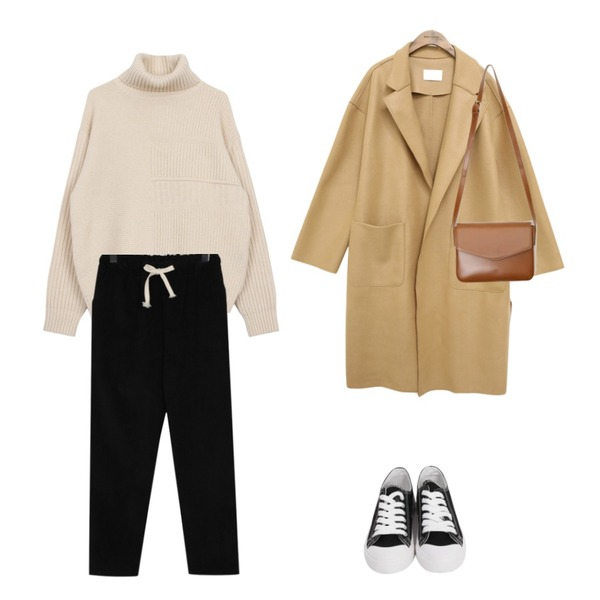 common unique [OUTER] WOOL CUTTING SLIT COAT,biznshoe Wool turtle knit (4color),From Beginning Owl corduroy banding pants_H (size : free)등을 매치한 코디