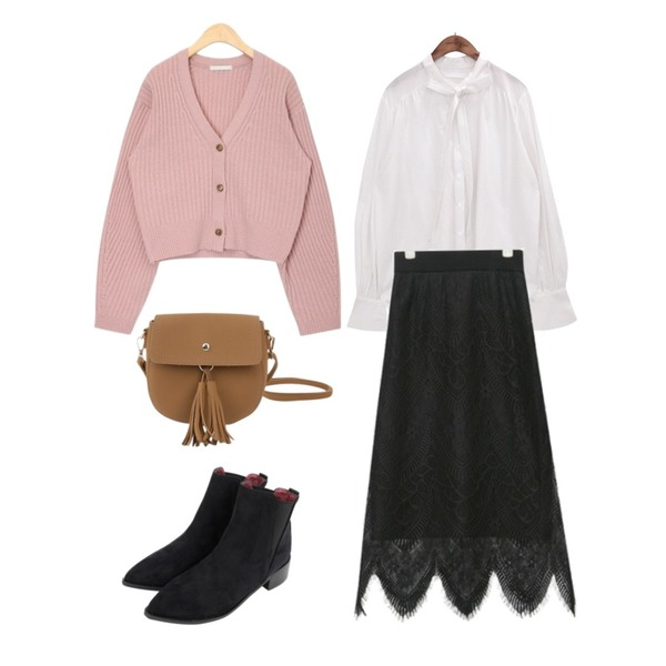 AIN knit lining lace skirt,AIN natural lambswool mini cardigan,common unique [TOP] RIBBON TIE POINT BLOUSE등을 매치한 코디