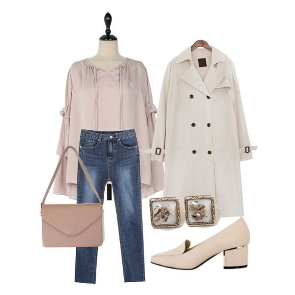 myblin 데일리 디스 진,common unique [OUTER] CLASSIC CHIC TRENCH COAT,UPTOWN HOLIC 클로디 bl (*3color)등을 매치한 코디