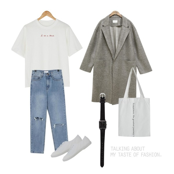 common unique [OUTER] WOOL CUTTING SLIT COAT,From Beginning Middle washing damage jean_S (size : S,M),BANHARU lettering point tee등을 매치한 코디