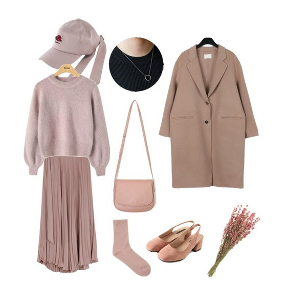 TWEE Rose back point cap,daily monday Pink handmade single coat,From Beginning Belted wrap pleats skirt_M (size : free)등을 매치한 코디
