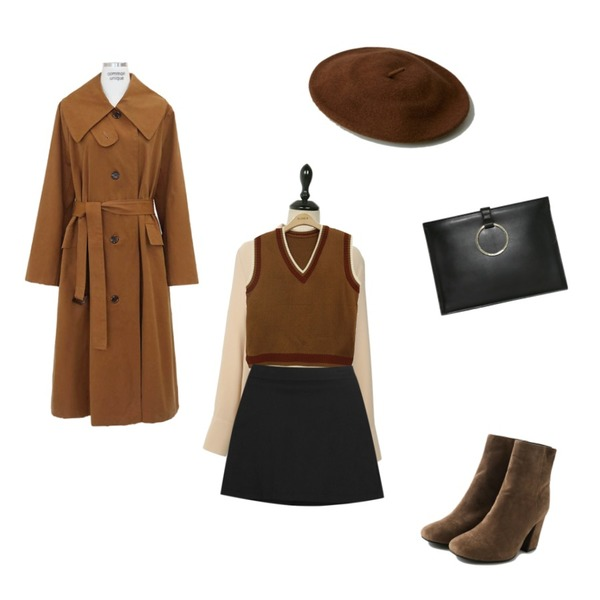 BLINGIT 배색V넥조끼,common unique [OUTER] WIDE COLLAR SINGLE TRENCH COAT,UPTOWN HOLIC 클리즈 bl (*4color)등을 매치한 코디