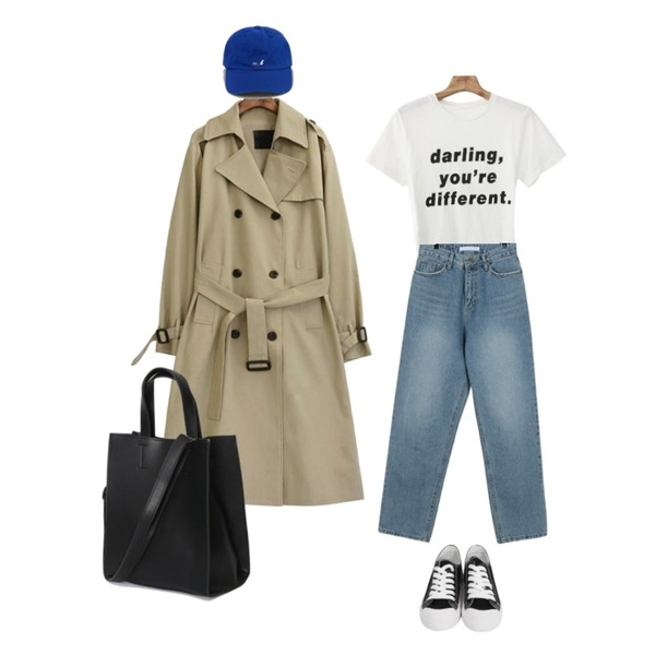 BANHARU lettering point ball cap,common unique [OUTER] CLASSIC CHIC TRENCH COAT,Zemma World Darling-프린팅티셔츠[size:44~66 / 4color]등을 매치한 코디