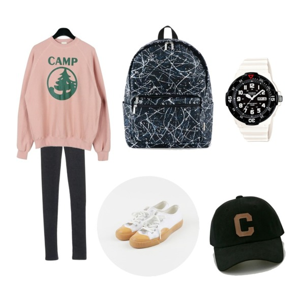 daily monday Rubber cotton sneakers,ROCOSIX warm color leggings,daily monday Camp nice man to man등을 매치한 코디