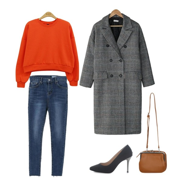 Zemma World Chilly-롤업스키니[size:S,M / 1color],BANHARU mannish check long coat,LOVELY SHOES 천송이 구두 9cm등을 매치한 코디