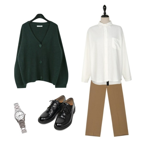 biznshoe LTP-VOO6D-7BUDF [5237],daily monday V-neck button point cardigan,AIN FRESH A standard slacks (s, m, l)등을 매치한 코디