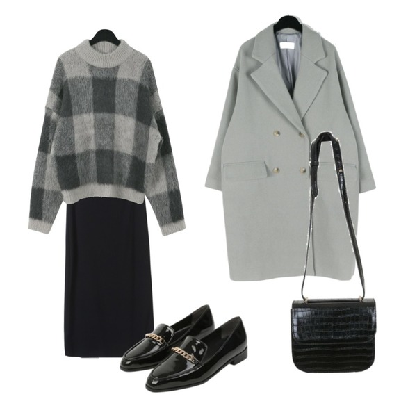 daily monday Howell double wool coat,daily monday Acrylic alpaca check knit,OBBANG STYLE 밀레니엄 골지 롱스커트등을 매치한 코디
