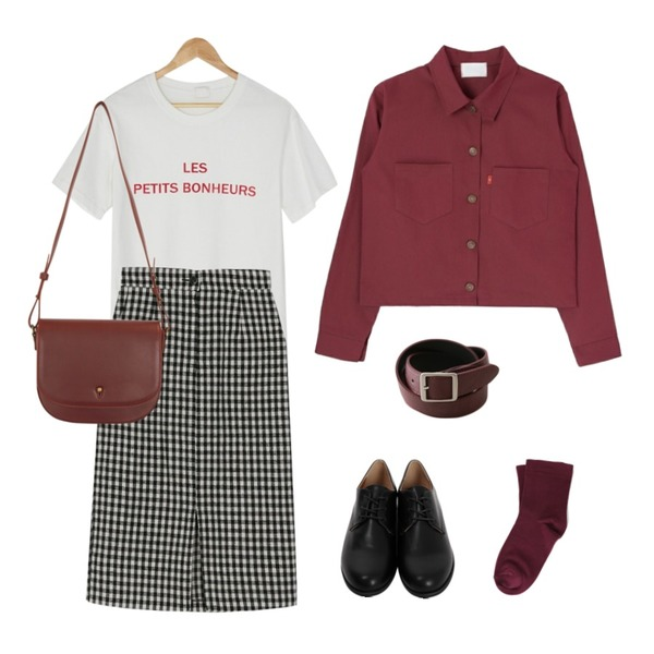 BANHARU gingham check slit banding skirt,BANHARU round les napping tee,From Beginning Journal daily loafer_K (size : 230,235,240,245,250)등을 매치한 코디