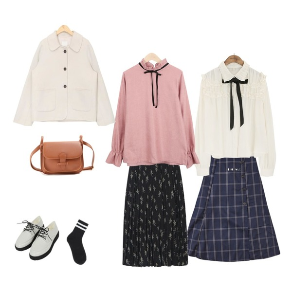 IHRER SHAPE Check long SK navy,AIN from flower pleats skirt,common unique [TOP] COLLAR FRILL TIE CHIFFON BLOUSE등을 매치한 코디