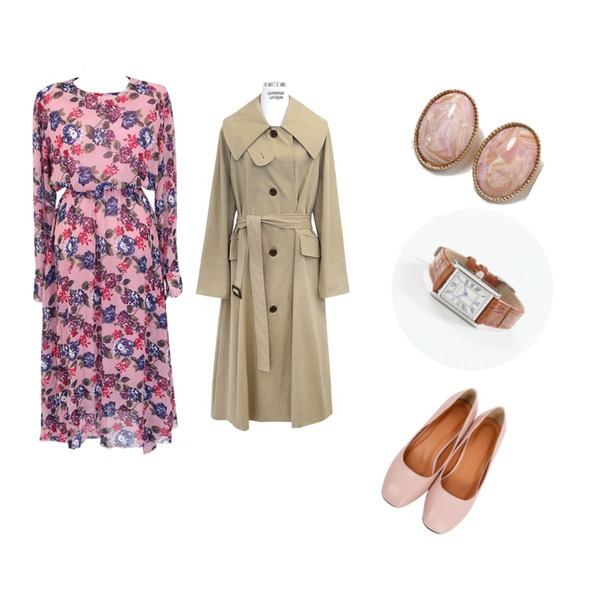 From Beginning Choice round middle pumps_M (size : 225,230,235,240,245,250),common unique [OPS] HYDRANGEA FLOWER LONG OPS,common unique [OUTER] WIDE COLLAR SINGLE TRENCH COAT등을 매치한 코디