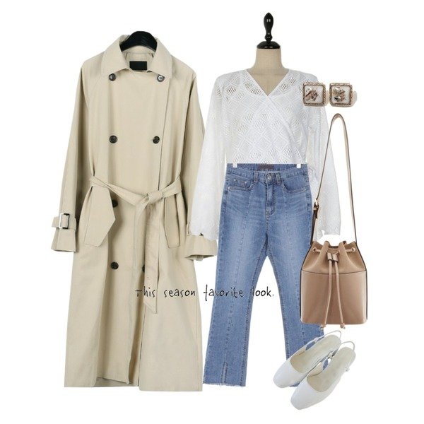UPTOWN HOLIC 클라앤 pants,daily monday Classic double trench coat,UPTOWN HOLIC 모디스 set bl (*2color)등을 매치한 코디