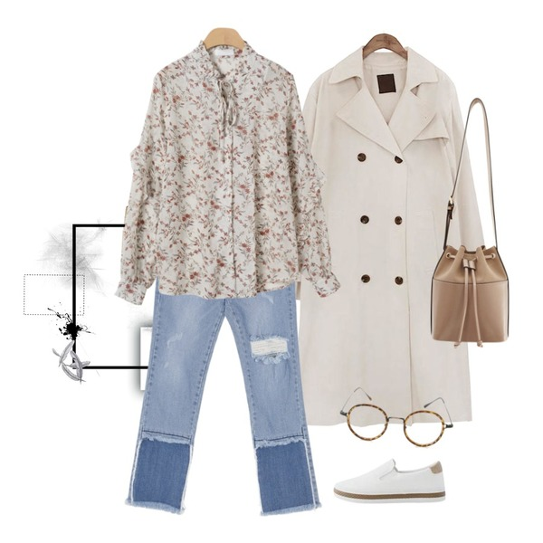 7,common unique [OUTER] CLASSIC CHIC TRENCH COAT,UPTOWN HOLIC 셀럽청 pants등을 매치한 코디