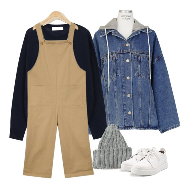 AIN ame pocket overalls,common unique [OUTER] VINTAGE UNBAL HOOD DENIM JACKET,From Beginning Gelato spring round knit_B (size : free)등을 매치한 코디