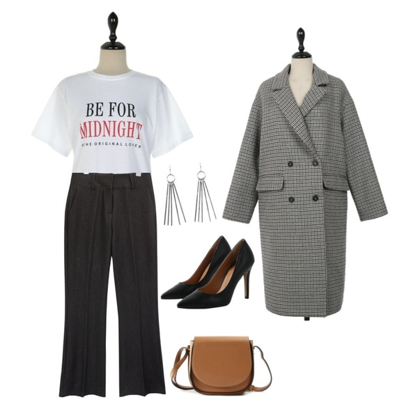 UPTOWN HOLIC 노몰 체크 coat#당일배송,common unique [BOTTOM] SEMI BOOTS CUT DENIM SLACKS,UPTOWN HOLIC 미드나잇 t (*3color)등을 매치한 코디