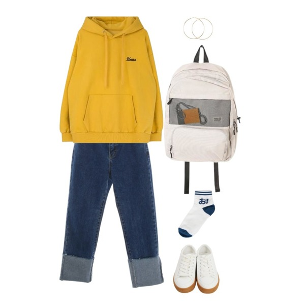 From Beginning Excel rubber sneakers_M (size : 225,230,235,240,245,250),MIXXMIX Simple Lettering Hoodie (기모),ROCOSIX more roll-up denim PT등을 매치한 코디