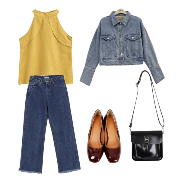 From Beginning Choice round middle pumps_M (size : 225,230,235,240,245,250),ABLY 델리 린넨나시,From Beginning Better wide cutting denim_S (size : S,M,L,XL)등을 매치한 코디