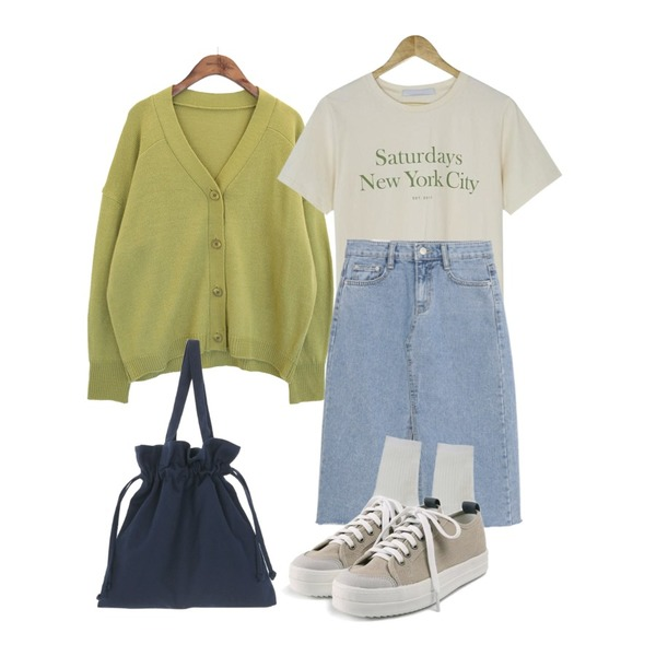 BANHARU saturdays round tee,common unique [OUTER] 5 COLOR V NECK CARDIGAN,AWAB 넬라데님스커트등을 매치한 코디