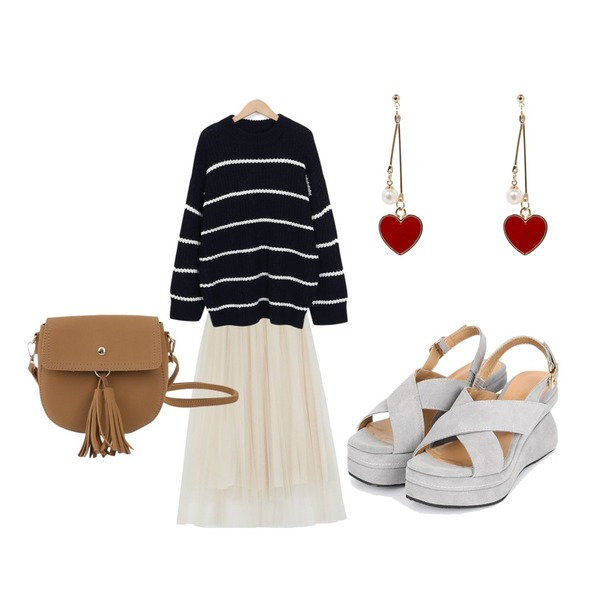 AIN real leather cross platform heel (3 colors),From Beginning Rolly stripe fisher knit_S (size : free),common unique [SKIRT] LOVELY LACE BANDING PLEATS SKIRT등을 매치한 코디