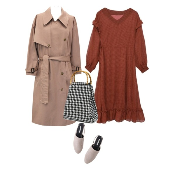LOVELY SHOES 다스트 슬링백 미들힐 (4.5cm),MIXXMIX 프릴 도트 원피스,common unique [OUTER] WARM TONE OVER TRENCH COAT등을 매치한 코디