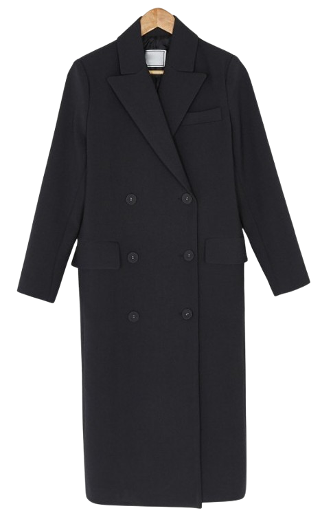 Simple double-button long coat