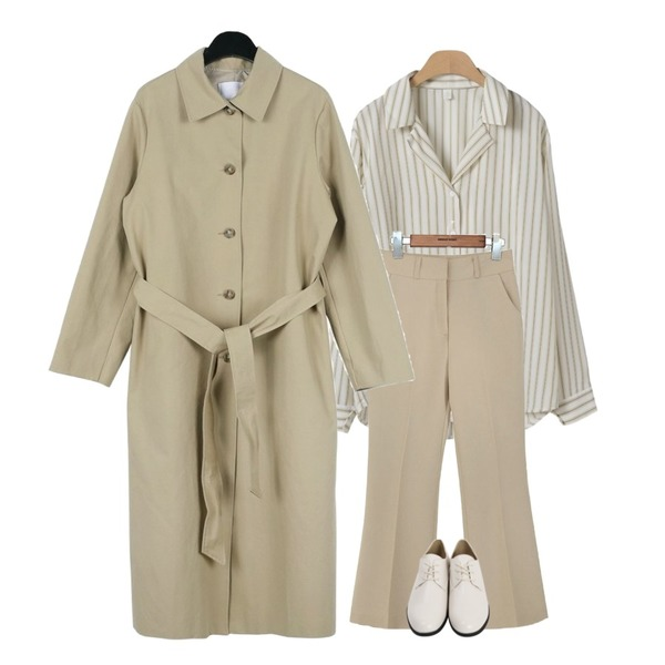 daily monday Mono single trench coat,common unique [BOTTOM] SEMI BOOTS CROP SLACKS,OBBANG STYLE 비엔나 스트라이프 블라우스등을 매치한 코디