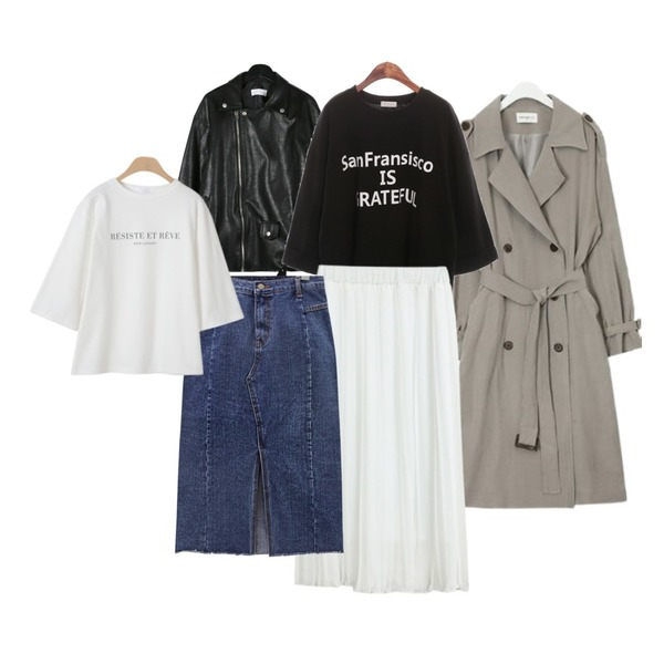 ROCOSIX grateful roll-up T,daily monday Chic simple rider jacket,AIN FRESH A spring daily trench coat등을 매치한 코디