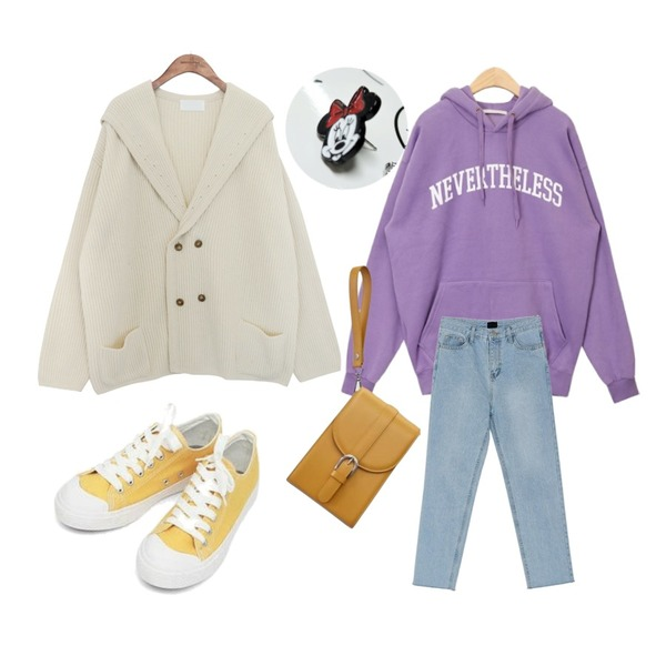 common unique [OUTER] SHAWL COLLAR KNIT CARDIGAN,AIN never hood T,BANHARU ice straight fit pants등을 매치한 코디