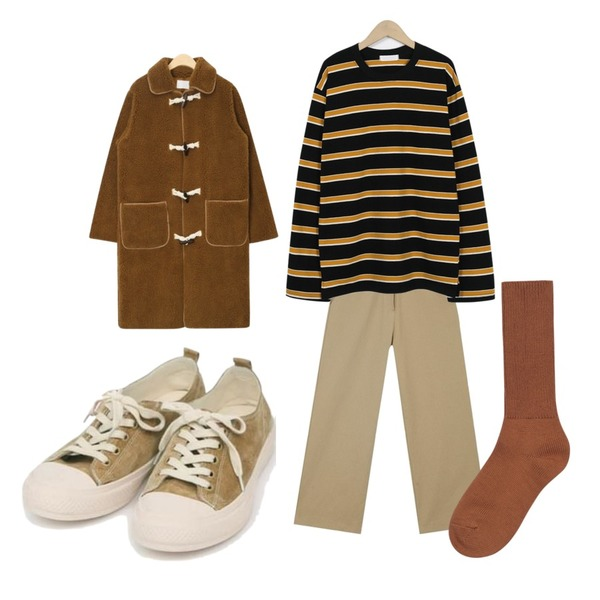 AIN teddy soft long coat,AIN prim wide cotton pants,From Beginning Triple color stripe T_S (size : free)[네이비, 블랙 27일 입고 후 순차적배송]등을 매치한 코디
