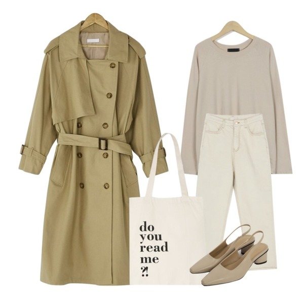 From Beginning Simple raglan sleeve T_M (size : free),BANHARU natural trench coat,BANHARU high-waist straight fit cotton pants등을 매치한 코디