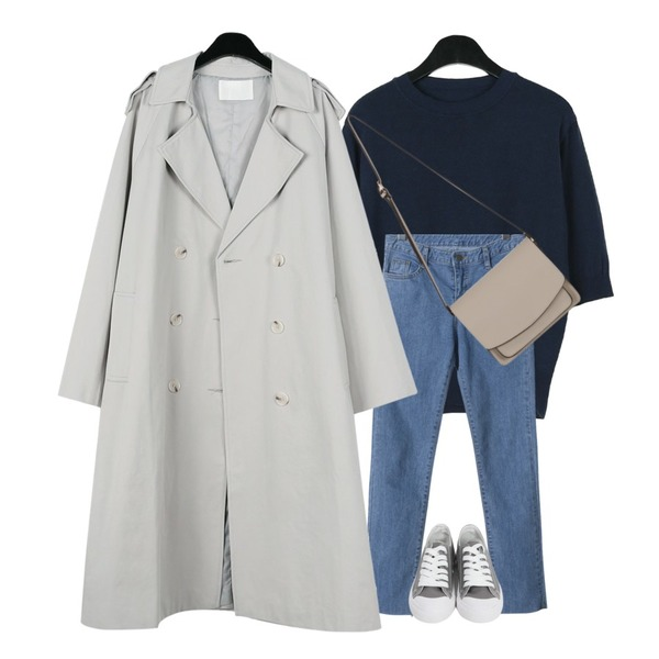 daily monday Everyday cotton trench coat,daily monday Cashmere half sleeve knit,OBBANG STYLE 슬림핏 일자 데님팬츠등을 매치한 코디