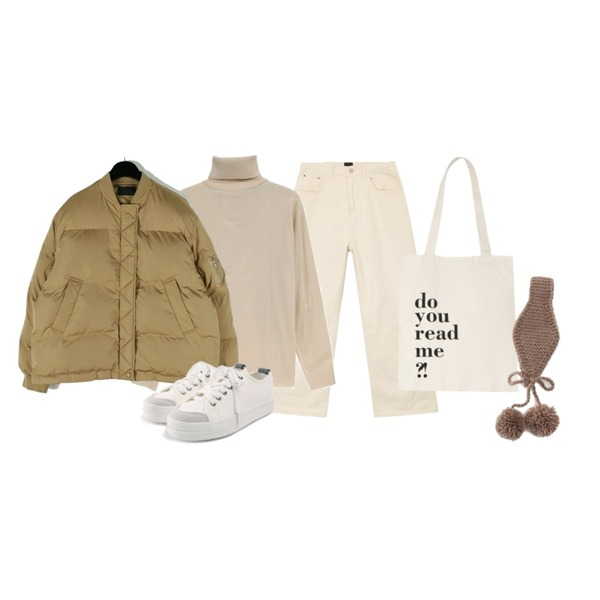 daily monday Round block padding,NEW NEED NOW 플로우 베이직 터틀넥 니트(9color),AIN solid casual wide cotton pants (s, m)등을 매치한 코디