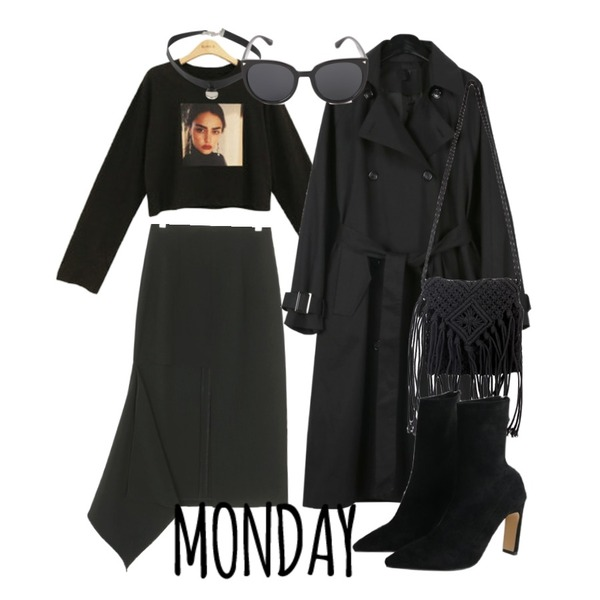 daily monday Classic double trench coat,UPTOWN HOLIC 플로우 sk (*2color),BLINGIT 전사나염크롭티셔츠등을 매치한 코디