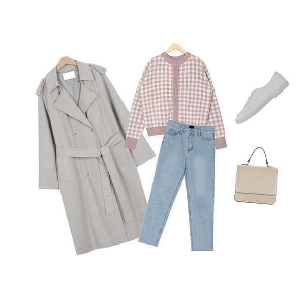 From Beginning Robust daily trench coat_B (size : free),AIN same shape check cardigan,BANHARU ice straight fit pants등을 매치한 코디