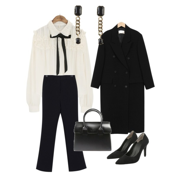 common unique [TOP] COLLAR FRILL TIE CHIFFON BLOUSE,From Beginning Low double long jacket_S (size : free),From Beginning Wearable loose-fit slacks_K (size : S,M)등을 매치한 코디