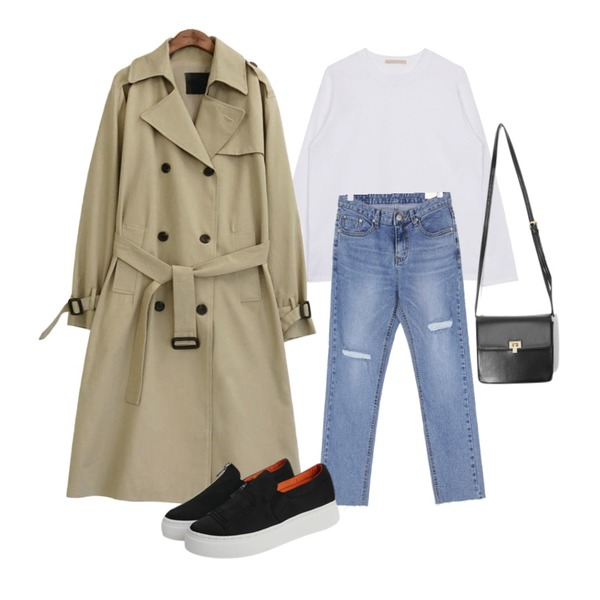 biznshoe Basic cotton tee (6color),common unique [OUTER] CLASSIC CHIC TRENCH COAT,UPTOWN HOLIC 카운드 pants등을 매치한 코디
