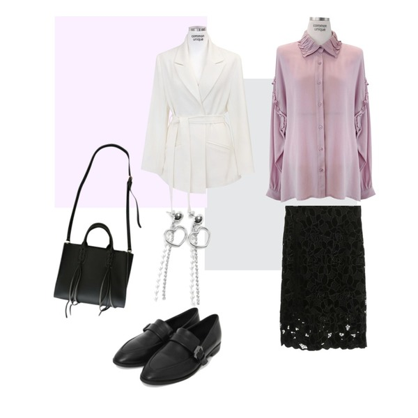 Magenta ,Grey,AIN tiny buckle loafer (2 colors)등을 매치한 코디