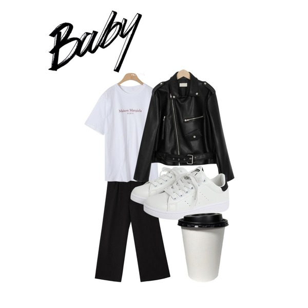 common unique [BOTTOM] POCKET POINT WIDE PANTS,OBBANG STYLE 엘라 레터링 티셔츠,From Beginning Outfit rider jacket_M (size : free)등을 매치한 코디