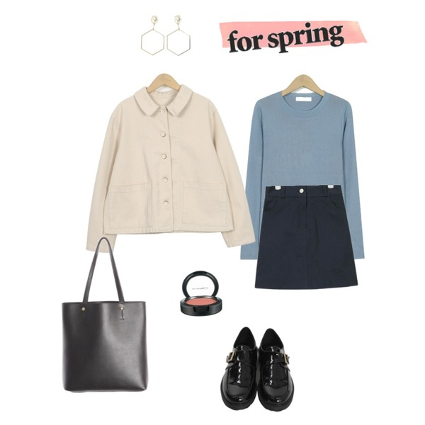 33,AIN mary cotton mini skirt,From Beginning Herb basic spring knit_M (size : free)등을 매치한 코디