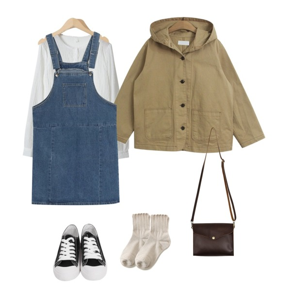 From Beginning Train cotton overall ops_M (size : M,L),TODAY ME [jacket]레빅 자켓(데일리 스티치 포켓 코튼 후드JK),OBBANG STYLE 로랑 레이스 블라우스등을 매치한 코디