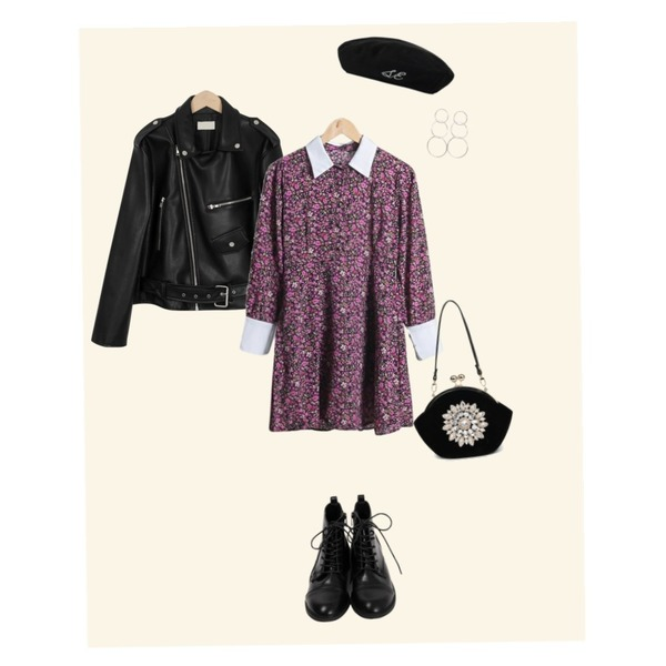 Mono,MIXXMIX Time To Check Beret,From Beginning Simple lace-up walker_K (size : 230,235,240,245,250)등을 매치한 코디