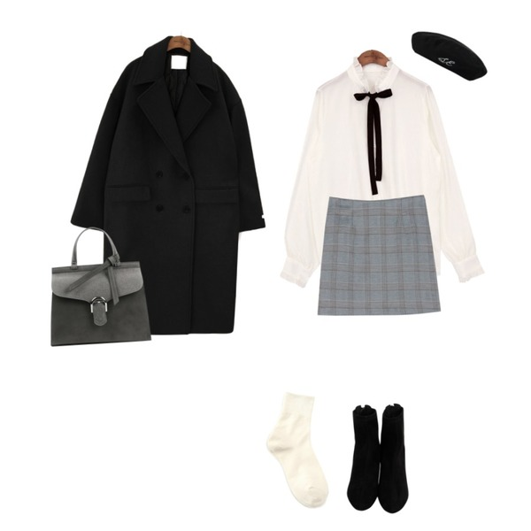 From Beginning O-ring ankle boots_K (size : 225,230,235,240,245,250),BANHARU honest classic check skirt,common unique [TOP] HALF NECK FRILL TIE CHIFFON BLOUSE등을 매치한 코디