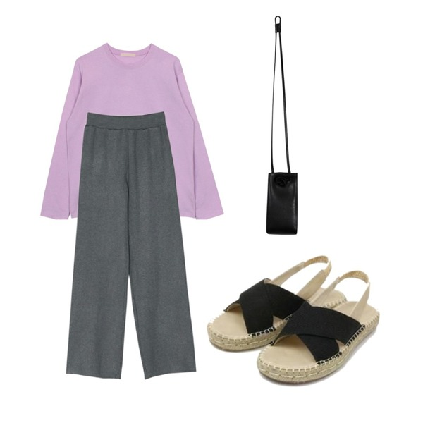 BANHARU basic banding knit pants,biznshoe Basic cotton tee (6color),From Beginning Ox hide mini bag_K (size : one)등을 매치한 코디
