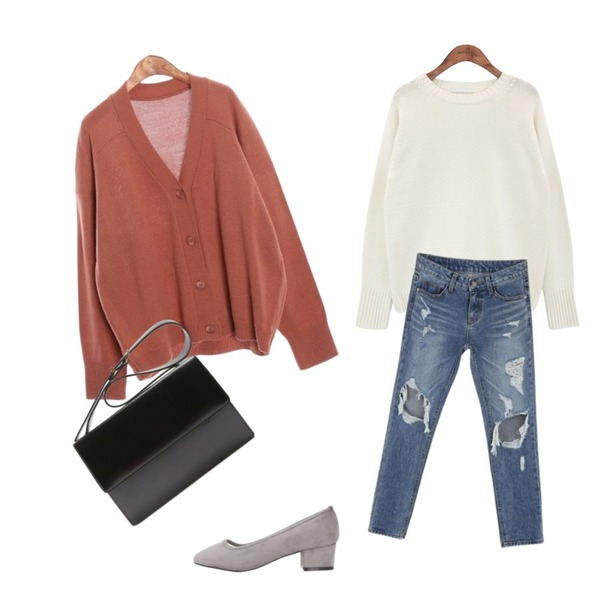 CHLO.D.MANON 원더랜드 배기 팬츠,ROCOSIX living basic CD,common unique [TOP] CANDY COLOR KNIT등을 매치한 코디