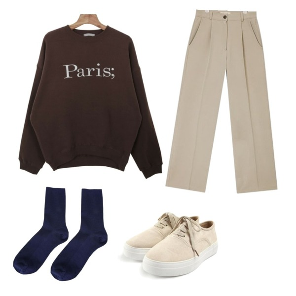 Zemma World A paris-양기모맨투맨[size:44~통통66 / 4color],ROCOSIX casual sided sneakers,AIN french pintuck slacks (s, m)등을 매치한 코디
