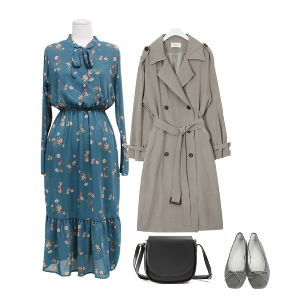 HAEPP 피튜니아 - 쉬폰롱원피스,From Beginning Real sable flat shoes_K (size : 225,230,235,240,245,250),AIN FRESH A spring daily trench coat등을 매치한 코디