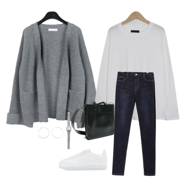 daily monday Roll-up shawl cardigan,From Beginning Simple raglan sleeve T_M (size : free),common unique [BOTTOM] RUBBER HIGH DENIM SKINNY등을 매치한 코디