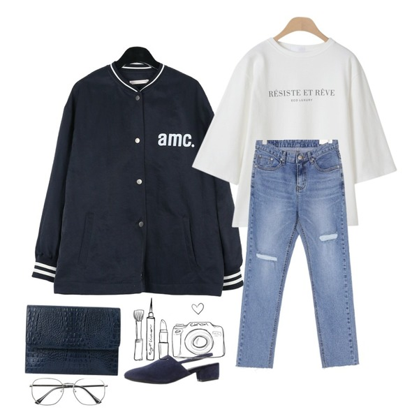 daily monday Cozy casual baseball jumper,UPTOWN HOLIC 카운드 pants,OBBANG STYLE 에코 레터링 7부티셔츠등을 매치한 코디