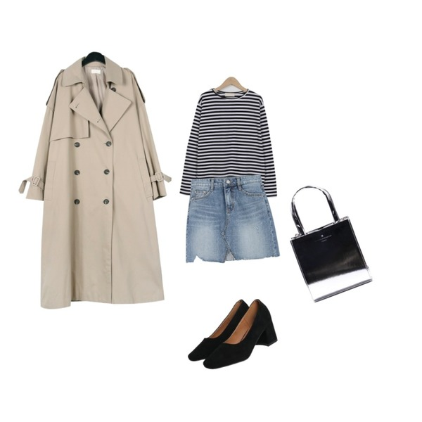Monobabie [RP1823] 렌디핀6.5cm,From Beginning Close stripe round T_H (size : free),daily monday Over casual trench coat등을 매치한 코디